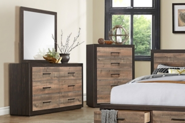 Julian Natural Woodgrain 6-Drawer Mirror Dresser