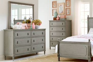 Ava Antique Gray Dresser with Mirror