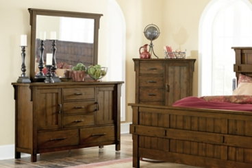 Isabella Burnished Oak Dresser with Mirror