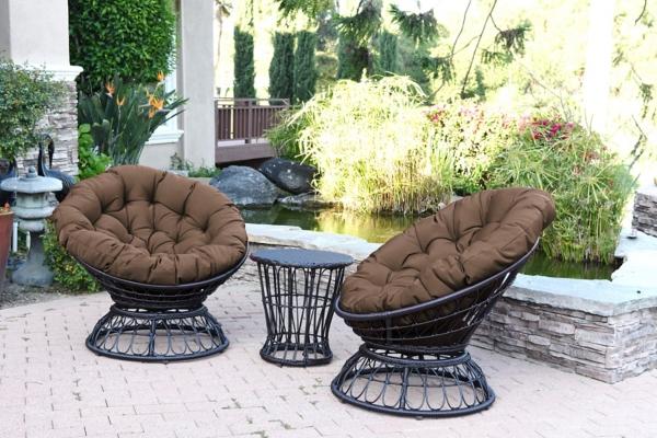 Espresso Wicker Swivel Brown Cushions Patio Set