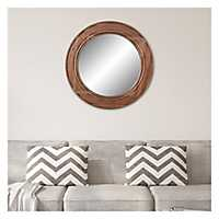 Round Reclaimed Wood Wall Mirror, 31.5 in.