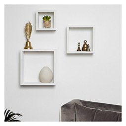 Distressed White Floating Box Shelves Set Of 3