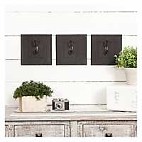 Distressed Black Wooden Wall Hooks, Set of 3