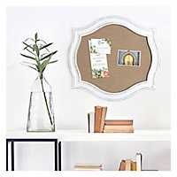 White Washed Scallop Framed Burlap Pin Board