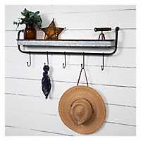 Rustic Galvanized Metal Wall Shelf with Hooks
