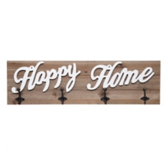 Happy Home Pallet Board with Hooks