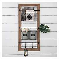 Metal Basket and Hooks Wooden Wall Organizer
