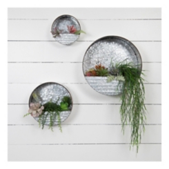 Round Metal Hanging Wall Pockets, Set of 3