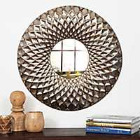 Lattice Hammered Metal Round Wall Mirror