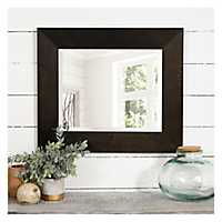 Black and Bronze Beveled Wood Mirror, 23x27 in.