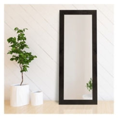 Black and Bronze Beveled Wood Mirror, 31x77 in.