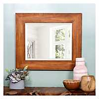 Walnut Wood Grain Beveled Frame Wall Mirror