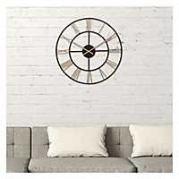 Black and Gold Cut Out Roman Numeral Wall Clock