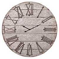 Frameless Galvanized Metal Planked Wall Clock