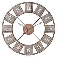 Galvanized Metal and Wood Windmill Wall Clock