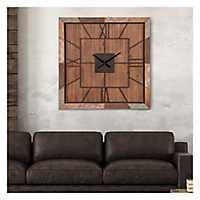 Distressed Barn Wood Plank Square Wall Clock