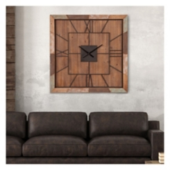 Distressed Barn Wood Plank Square Wall Clock