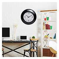 Glenmont Black Modern Slope Framed Wall Clock