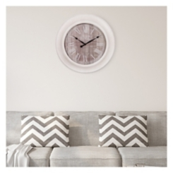 Whitewash and Gray Wood Grain Round Wall Clock