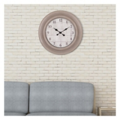 Taupe and Whitewash Wood Grain Round Wall Clock