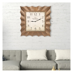 Gold Scallop Frame Square Wall Clock