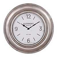 Wide Silver Framed Wall Clock