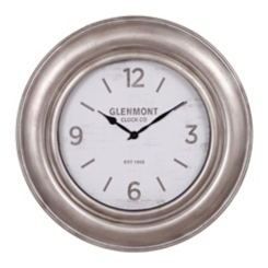 Wide Silver Framed Wall Clock