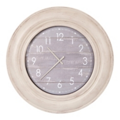 Distressed White with Gray Wood Plank Wall Clock