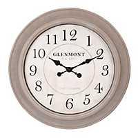 Washed Gray Wood Grained Circle Wall Clock