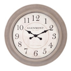 Washed Gray Wood Grained Circle Wall Clock