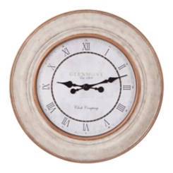 Distressed White and Bronze Roman Numeral Clock