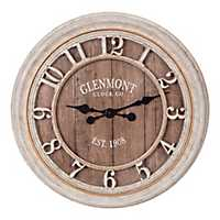 Glenmont Distressed Gray Wood Plank Wall Clock