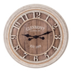 Glenmont Distressed Gray Wood Plank Wall Clock