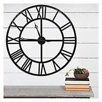 Black and Bronze Metal Wall Clock