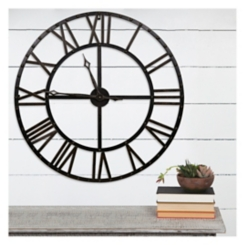 Black and Bronze Metal Wall Clock