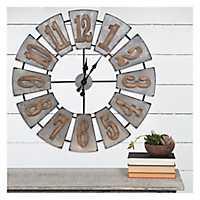Metal and Wood Windmill Wall Clock