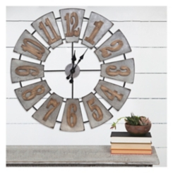 Metal and Wood Windmill Wall Clock