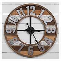 Rustic Reclaimed Wood and Metal Wall Clock