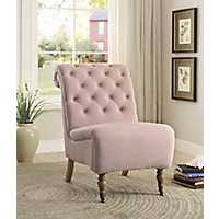 Washed Pink Linen Rolled Back Tufted Accent Chair
