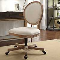 Ava Natural Linen Swivel Office Chair