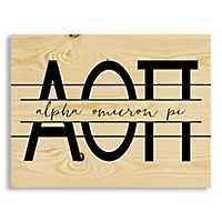 Alpha Omicron Pi Script Wood Pallet Plaque