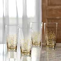 Gold Luster High Ball Glasses, Set of 4