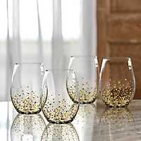 Gold Confetti Stemless Wine Glasses, Set of 4