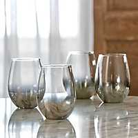 Silver Ombre Stemless Wine Glasses, Set of 4