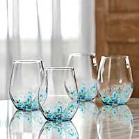 Blue Callie Stemless Wine Glasses, Set of 4