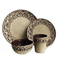 Brown Mehndi 16-pc. Dinnerware Set