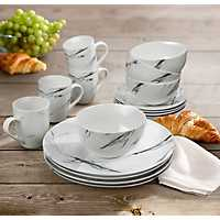 Black and White Marble 16-pc. Dinnerware Set