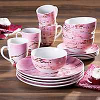 Pink and Gold Marble 16-pc. Dinnerware Set
