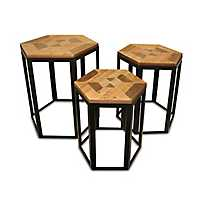 Wood and Metal Hexagon Nesting Tables, Set of 3