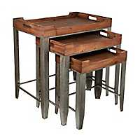 Galvanized Base Nesting Accent Tables, Set of 3